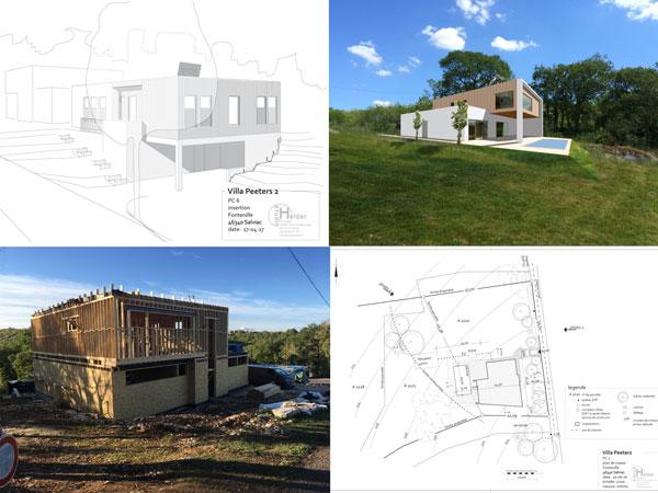twee woningen in houtskeletbouw en een zwembad