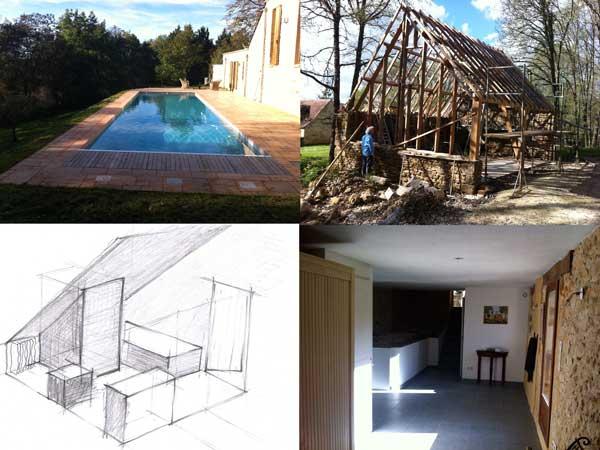restauratieproject van meerdere gebouwen en een zwembad