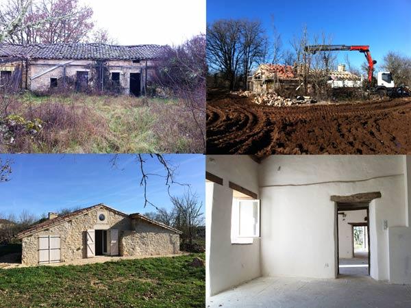 restauratie van een boerderij tot woonhuis in de Lot